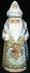 A SWEET ANGEL HANDPAINTED ON HAND CARVED RUSSIAN SANTA CLAUS #7105