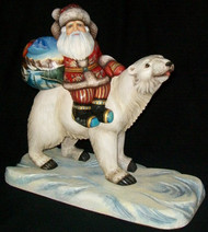 Unbelievable Handcarved, Handpainted Russian Santa Claus Riding Polar Bear #4650