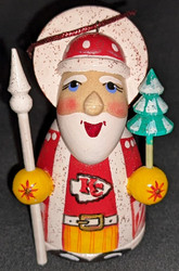 WOW! HAND CRAFTED KANSAS CITY CHIEFS WOODEN SANTA CLAUS TREE ORNAMENT