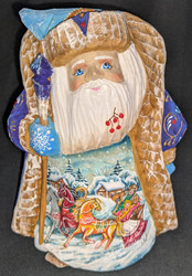 A BEAUTIFUL SCENIC SANTA CLAUS #1444 w/TRADITIONAL TROIKA & RED WINTER BERRIES