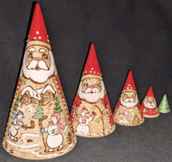 HANDPAINTED ETCHED SCENIC SANTA NESTING SET – SNOWMEN PLAYING IN THE SNOW #0356