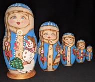 RUSSIAN TRADITIONAL HAND PAINTED 5PC MATRYOSHKA NESTING SET – SNOW MAIDEN #6590