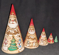 HANDPAINTED ETCHED SCENIC SANTA NESTING SET – SNOWMEN PLAYING IN THE SNOW #0324