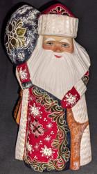 LOVELY HANDPAINTED RUSSIAN GOLDEN UZOR SANTA #0381 RED & GOLD w/MAIL SATCHEL