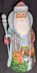 MARVELOUS RUSSIAN HAND PAINTED SANTA CLAUS - DEER IN A BIRCH OR ASPEN STAND 8615