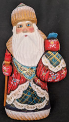 DELIGHTFUL RED, BLUE & GOLD RUSSIAN HAND PAINTED SANTA CLAUS #1116 w/PACK