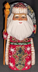 BEAUTIFUL RUSSIAN HAND PAINTED GOLDEN UZOR SANTA CLAUS / GRANDFATHER FROST #3678