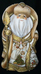 WOW! GORGEOUS GOLDEN HAND PAINTED RUSSIAN SANTA CLAUS - ANGELIC MUSICIANS #1711