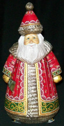 INCREDIBLE HAND PAINTED UNIQUELY SHAPED RUSSIAN WOODEN SANTA CLAUS #2236