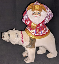BEAUTIFUL SANTA CLAUS ON A POLAR BEAR – HAND PAINTED RUSSIAN WOODEN STATUE #4707