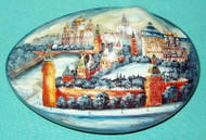 RUSSIAN HANDPAINTED MOTHER OF PEARL BOX - KREMLIN CHURCHES & MOSCOW SKYLINE