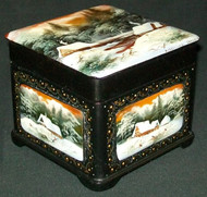 STUNNING RUSSIAN FEDOSKINO HAND PAINTED LACQUER BOX - GOLDEN SUNSET #3223