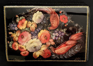 RUSSIAN HAND PAINTED KOHULI LACQUER BOX - FLORAL BOUQUET & BIRDS #0003