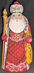 AN AMAZING HAND CARVED & HAND PAINTED RUSSIAN LINDEN WOOD SANTA CLAUS #7571