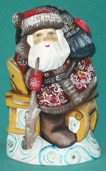 Russian Santa Sitting On Sled #0605 – Hand Carved & Painted Linden Wood Statue