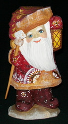 BRIGHT LANTERN - HAND CARVED & PAINTED RUSSIAN SANTA CLAUS #5202