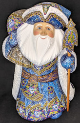 UNBELIEVEABLE HAND PAINTED WINTER BLUE RUSSIAN SANTA CLAUS w/FLORAL CLOAK #8428