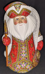 RUSSIAN SANTA CLAUS w/RED & GOLD FLORAL CLOAK #2925 HAND PAINTED WOODEN STATUE