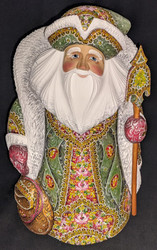 UNBELIEVEABLE HAND PAINTED GREEN & PINK RUSSIAN SANTA CLAUS w/FLORAL CLOAK #2887
