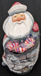 Grandfather Frost w/ Candy Holder #6175 – Hand Carved & Painted Russian Statue