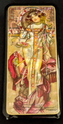 LOVELY 1920'S MAIDEN ON RUSSIAN HANDPAINTED MOTHER OF PEARL LACQUER BOX #0641