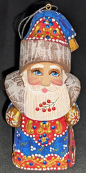WOW! HANDCARVED BLUE & GOLD RUSSIAN SANTA /GRANDFATHER FROST TREE ORNAMENT #5000