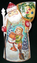 MARVELOUS RUSSIAN HAND PAINTED SANTA CLAUS - LITTLE BOY BUILDING SNOWMAN #3576