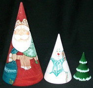 FESTIVE 3PC HAND CARVED & HAND PAINTED SANTA FAMILY NESTING SET #0487