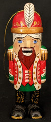 RUSSIAN HAND PAINTED NUTCRACKER TREE ORNAMENT - RED, GREEN, GOLD #6569