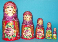 WOW! GORGEOUS PURPLE & RED FLORAL HAND PAINTED RUSSIAN 5PC NESTING SET #0779