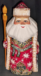 A RED & GOLD HAND CARVED & HAND PAINTED RUSSIAN GOLDEN UZOR SANTA CLAUS #3968