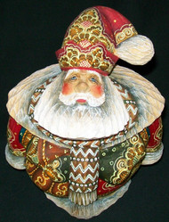 PHENOMENAL HAND PAINTED LINDEN WOOD SANTA CLAUS #0972 w/DETAILED BEAR SCENE