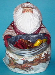 Traditional Troika on Russian Linden Wood Santa Claus w/ Candy Bag #8106