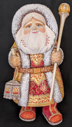 RUSSIAN HANDPAINTED BRIGHTLY COLORED WOODEN HOODED SANTA CLAUS w/LANTERN #4052