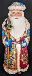 Russian Hand Carved & Painted Golden Uzor Santa w/ Snowflake on Toy Bag #6218