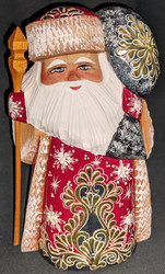 GOLDEN FLORAL DESIGN w/TOY BAG #3707 HAND CARVED RUSSIAN GOLDEN UZOR SANTA CLAUS