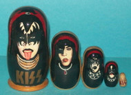 KISS 5PC RUSSIAN NESTING STACKING DOLL SET - GENE SIMMONS, PAUL STANLEY #8699