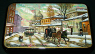LOVELY MOTHER OF PEARL RUSSIAN HAND PAINTED LACQUER BOX - VILLAGE SCENE #8790