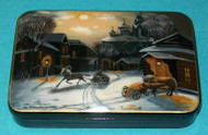 OLD WORLD VILLAGE SCENE ON HAND PAINTED RUSSIAN LACQUER BOX #8808