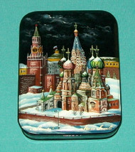 RUSSIAN MOTHER OF PEARL LACQUER BOX ST. BASIL'S CATHEDRAL & MOSCOW KREMLIN #9601