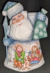 LOVELY HAND PAINTED RUSSIAN SCENIC SANTA CLAUS-CHILDREN IN THE SNOW w/PETS #6062