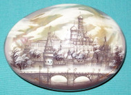 GORGEOUS BLACK & WHIITE RUSSIAN MOTHER OF PEARL BOX ST. BASIL'S & MOSCOW KREMLIN