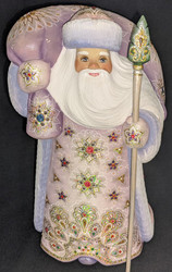 STRIKING LIGHT PURPLE & PINK HAND CARVED & HAND PAINTED RUSSIAN SANTA #4131