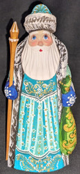 AN AMAZING HAND CARVED & HAND PAINTED RUSSIAN LINDEN WOOD SANTA CLAUS #7613