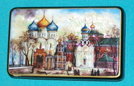 GOLD & BLUE ONION DOME CATHEDRAL SERGIEV POSAD HANDPAINTED FEDOSKINO MOP BOX