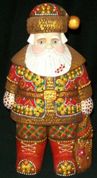 MARVELOUS HANDPAINTED BRIGHT RED RUSSIAN SANTA #5722 – HANDCARVED WOODEN STATUE
