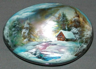 PASTEL COLORED HAND PAINTED RUSSIAN MOTHER OF PEARL BOX #4469 WINTER CABIN