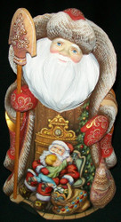 SPECTACULAR RUSSIAN HAND PAINTED SCENIC SANTA CLAUS w/ADORABLE CHILDREN #8314