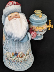 SANTA w/TRADITIONAL RUSSIAN SAMOVAR & TROIKA–HANDPAINTED GRANDFATHER FROST #8633