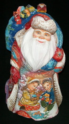 Santa Claus w/ Young Children Playing In The Snow #0762 Handpainted Wood Statue